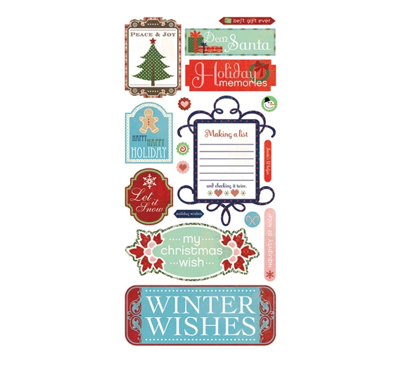 Sticker 5 x 12 -Titles colección Nordic Holiday de Basic Grey.