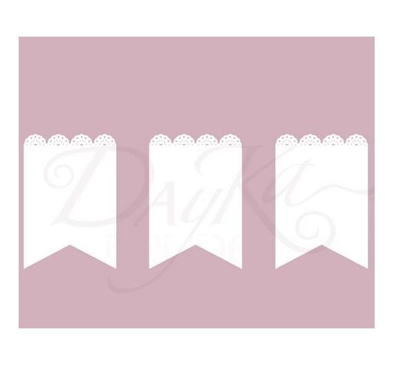 Silueta en carton fino y flexible de Dayka Trade , Banderines con Blonda , tamaño  de 15 x 10,5 cm