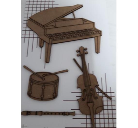 Siluetas de madera motivos Musica
