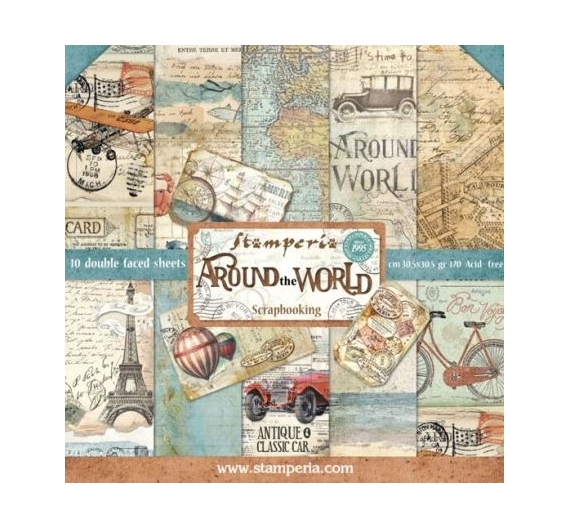 Set de papeles para Scrapbooking , de 30,5 cm  Stamperia , Around The World