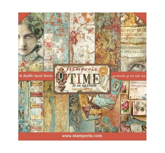 Set de papeles para Scrapbooking , de 30,5 cm  Stamperia Time is an Illusion