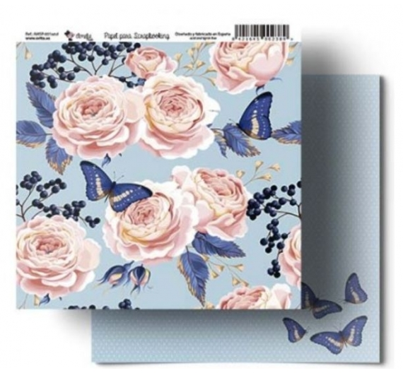 Papel para Scrapbooking 30,5 cm de  Orita modelo Amelie Mariposa Blue