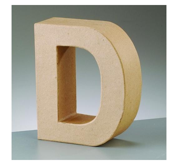 Letra D de cartón  tamaño de 17,5 x 17,5 x 5,5 cm