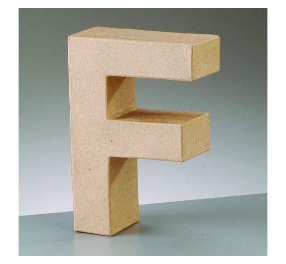 Letras de cartón  tamaño de 17,5 x 17,5 x 5,5 cm modelo F