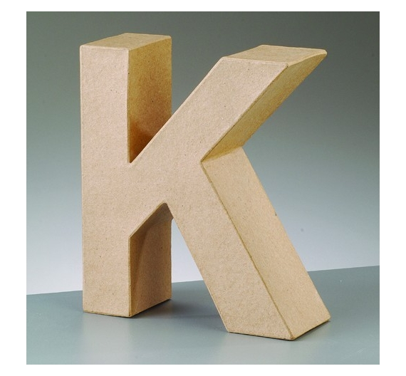 Letras de cartón  tamaño de 18  x 5,5  x 3,5cm  modelo K