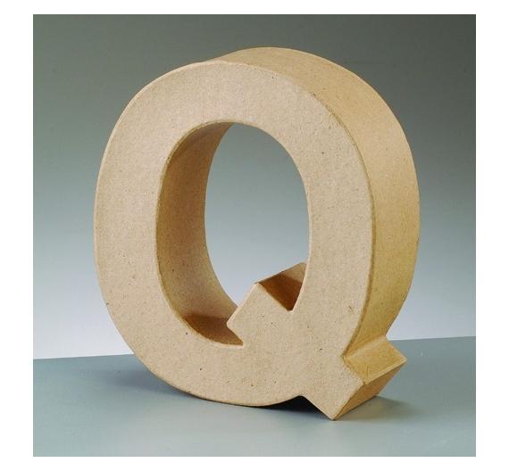 Letra Q de cartón  tamaño de 17,5 x 17,5 x 5,5 cm
