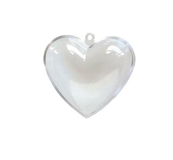 Corazón de metacrilato con apertura y gancho de 8 cm