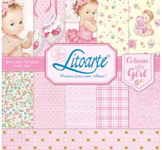 "PAPEL SCRAP 30X30"" BLOC 18 HOJAS BABY GIRL 2 LITOARTE"