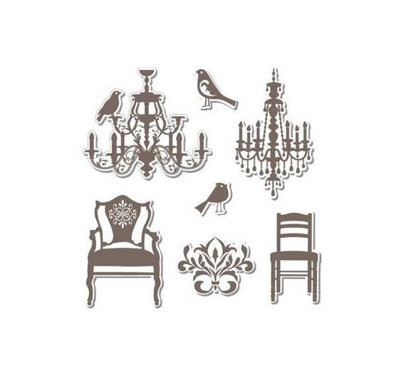 Troquel Framelits con sello. Lamparas y sillas (7 troqueles y 7 sellos).