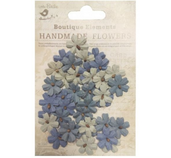 Mini Flores de papel de Little Birdie colores  gris, azul y beige.