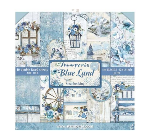 Pack 10 hojas de papel de doble cara 30,5x30,5 -Blue Land