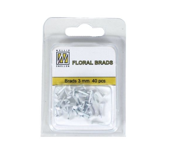 Mini Brads color  glitter blanco 3mm , 40 unid