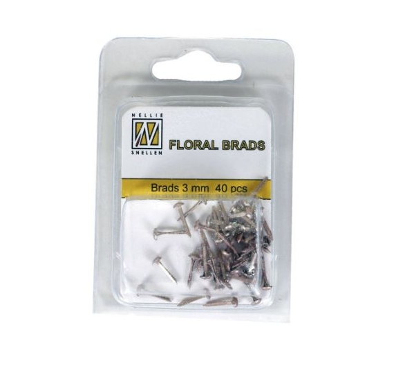 Mini Brads color  glitter oro  3mm , 40 unid