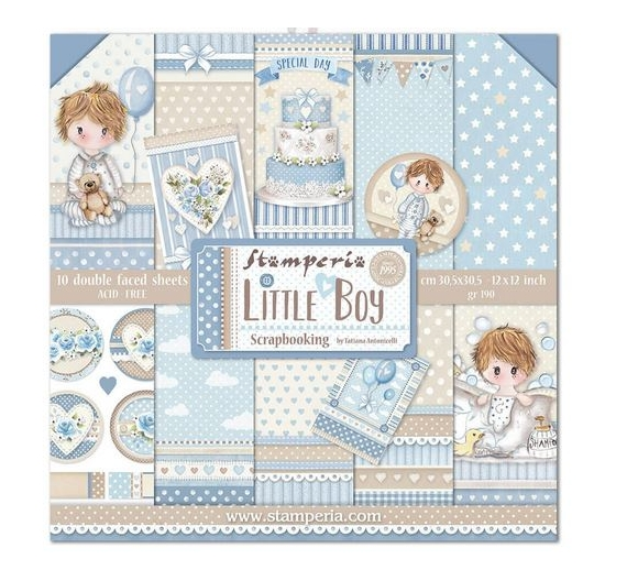 Set 10 papeles  Stamperia 30 x 30 cm Little Boy
