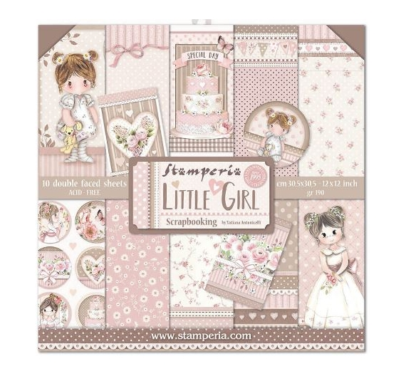 Set 10 papeles  Stamperia 30 x 30 cm Little Girl