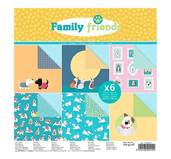 SET DE PAPELES  FAMILY FRIENDS DOGS 6 HOJAS