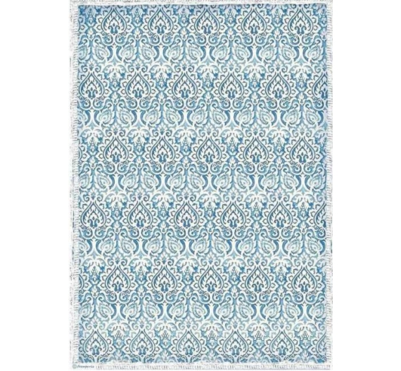 Conf. 1 hoja papel de arroz A3 en sobre colgable Damask blue