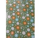 Tela Adhesiva Hoja A4, Fondo Verde y Florecillas. Naranjas y Azules.