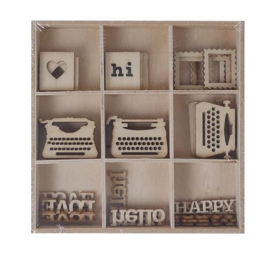 SURTIDO FORMAS DE MADERA ''Greeting'' 45 pzs. ARTIS DECOR