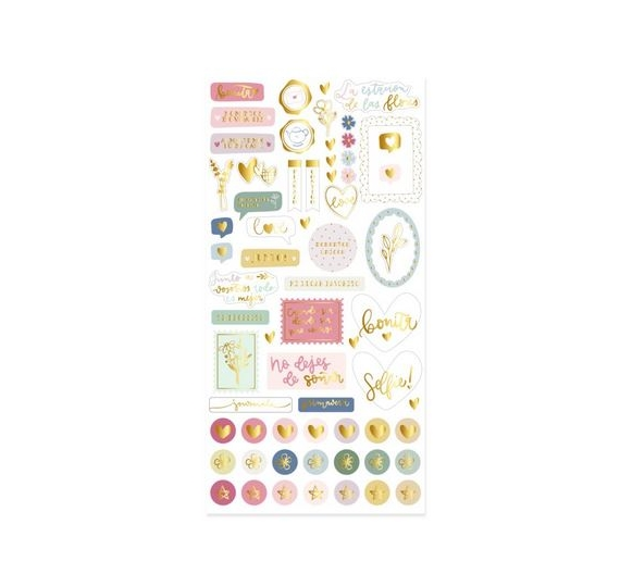 Pegatinas Chipboard con foil  Coleccion Petalos de Little  Hannah
